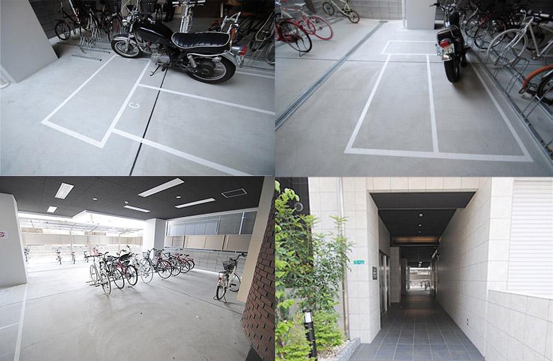 屋内バイク駐車場写真